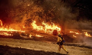 The Glass fire in Calistoga in the Napa Valley earlier this month. Much of northern California is deep into extreme or severe drought.