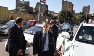 Italy's ambassador to Egypt, Maurizio Massari, arrives outside a morgue where the body of Giulio Regeni was being held.