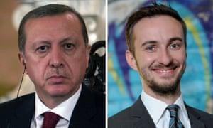 The Turkish president, Recep Tayyip Erdoğan and German TV comedian Jan Böhmermann