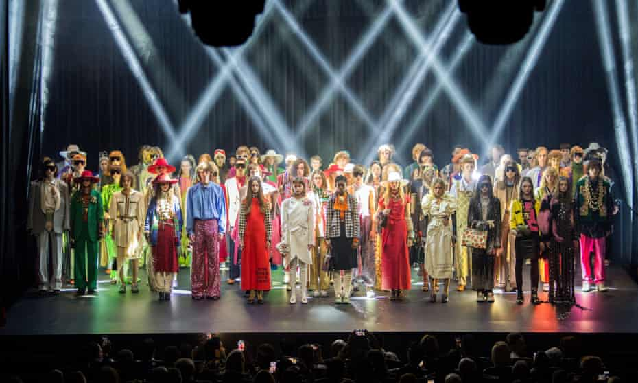 The models on stage at the Gucci show during Paris fashion week.