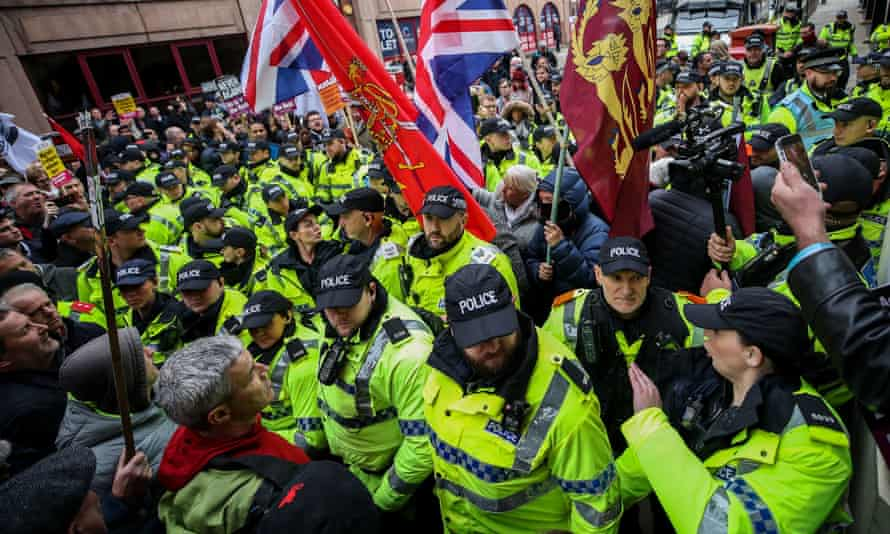 Police separate far-right North West Frontline Patriots demonstrators from anti-fascists in Liverpool city centre