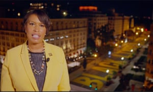 DC mayor Muriel Bowser speaking remotely at the Democratic National Convention in August, against a backdrop of the Black Lives Matter mural near the White House in Washington.