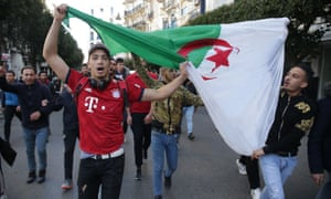 Students protesting against President Abdelaziz Bouteflika in Algiers on Tuesday