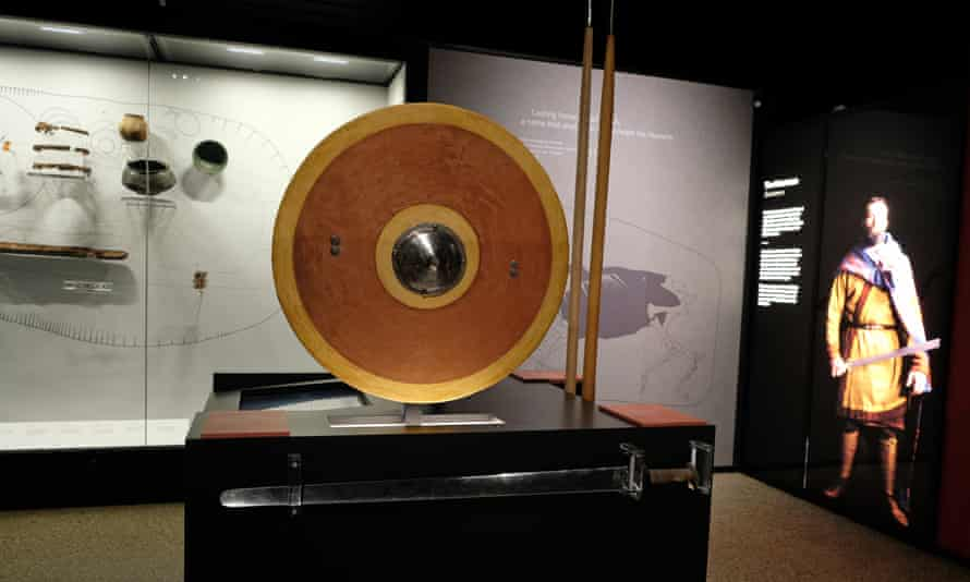 A National Trust exhibit at Sutton Ho shows an Anglo-Saxon shield.