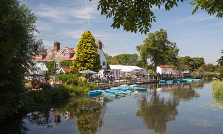 Boats for hire next to the Anchor Inn, Barcombe