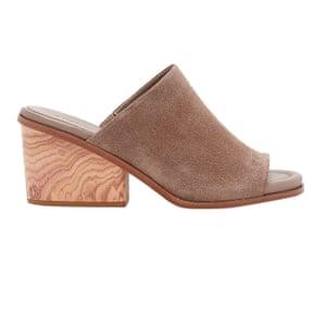 brown suede wooden heeled mules