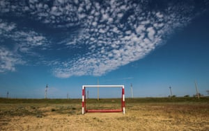 A goalpost stands in the village of Pribrezhnoye, Saksky region, Crimea
