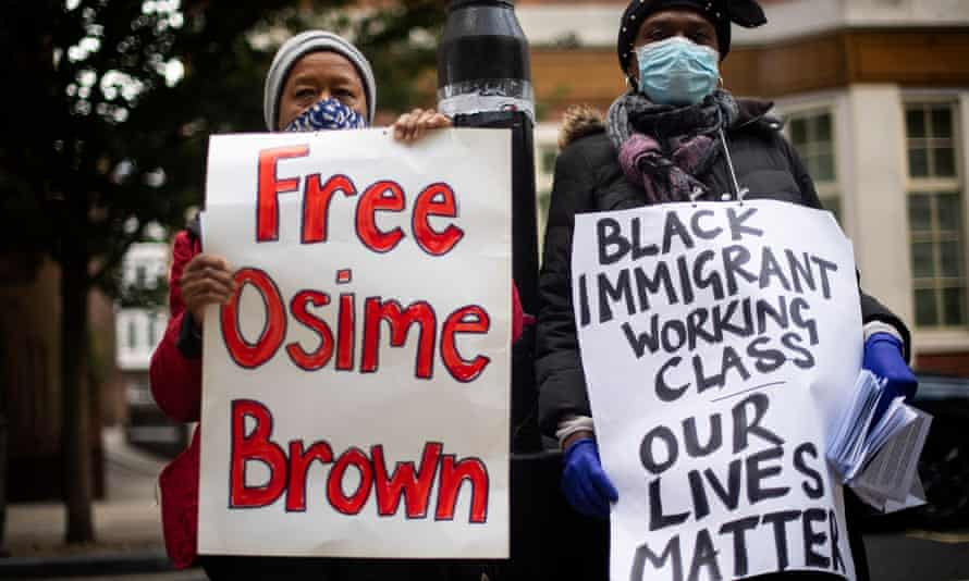 Protesters calling for the release of Osime Brown outside the Home Office, London, September 2020