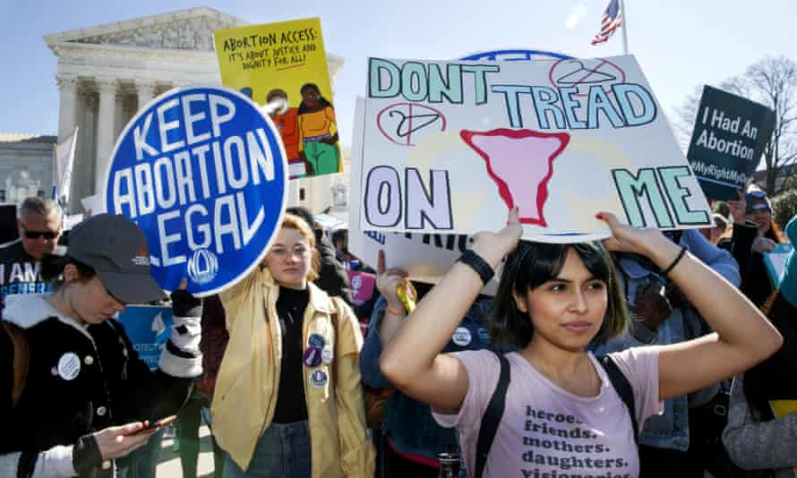 Abortion protesters gather outside the Supreme Court in Washington.