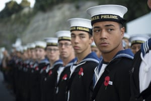 A line of sailors