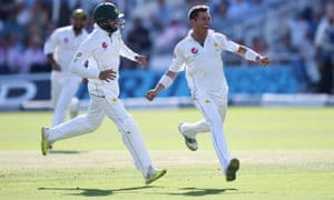 Yasir Shah celebrates with Azhar Ali after dismissing Chris Woakes at Lord's