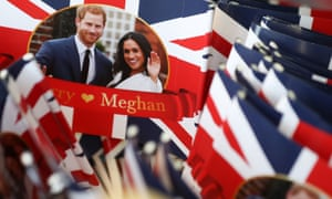 Put out the flags … Prince Harry and Meghan Markle adorn merchandise ahead of their wedding.