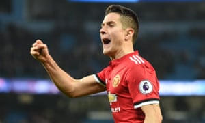 Ander Herrera celebrates Manchester United's victory over Manchester City at the Etihad on Saturday.