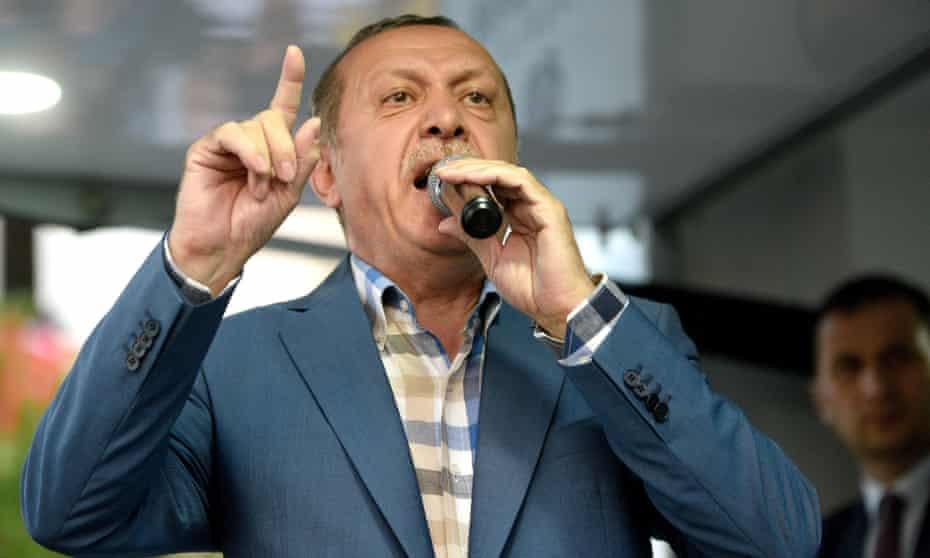 The Turkish president, Recep Tayyip Erdoğan, who has called on the US to extradite Fethullah Gülen, a US-based Islamist scholar.
