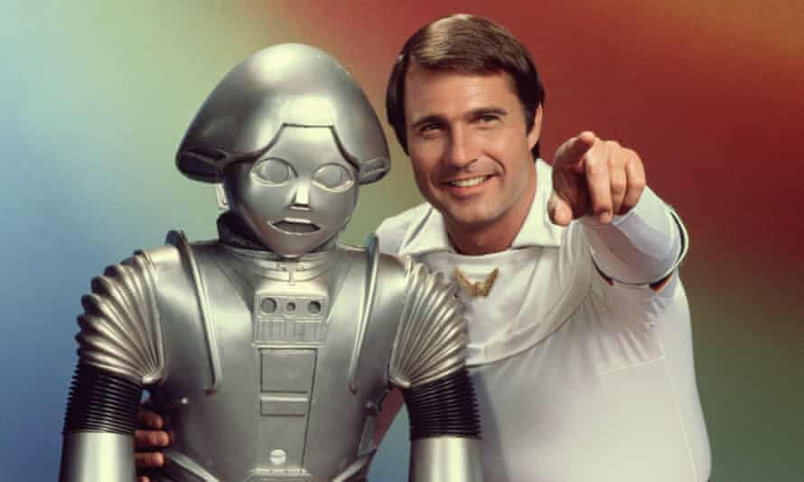 Gil Gerard as Captain Buck Rogers with his robot Twiki