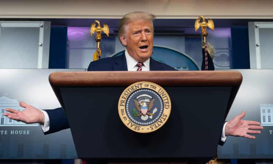 Donald Trump holds a news briefing