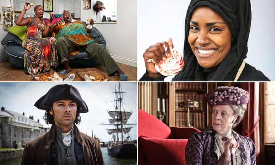 Clockwise from top left, nominations include Googlebox, The Great British Bake Off, Downton Abbey and Poldark.