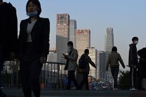 A pedestrian overpass in Beijing.