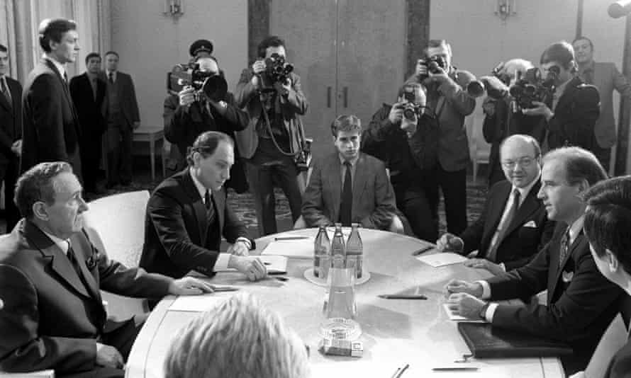 Joseph Biden (right) sits opposite Andrei Gromyko, chairman of the Supreme Soviet of the USSR, during negotiations in Moscow in 1988 to ratify the international nuclear forces treaty.