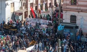 Protesters in Valparaiso