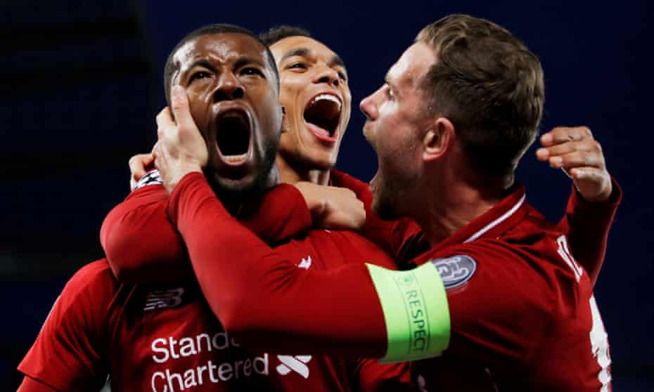 Liverpool players celebrate their third goal in the extraordinary Champions League semi-final win over Barcelona.