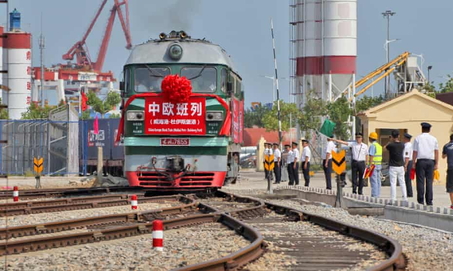 A freight train leaves for Duisburg port of Germany from Weihai port on September 15, 2017 in Rongcheng, Shandong Province of China.
