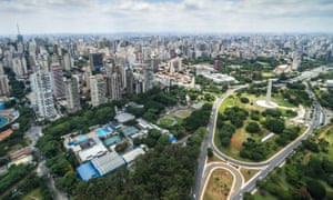 Aerial view of Sao Paulo and the Ibirapuera Park
