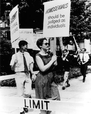 """Four years before Stonewall, gay rights activists picketed outside Independence Hall in Philadelphia on July 4th, 1965 to raise awareness of the civil rights denied to the LGBT community. The protest (called """"Annual Reminders"""") occurred for four consecutive Independence Days until the 1969 uprising that galvanized the gay liberation movement. Barbara Gittings, pictured, was a pioneer in the struggle for LGBT equality."""