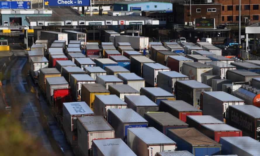 Cargo trucks in Dover heading to the EU.