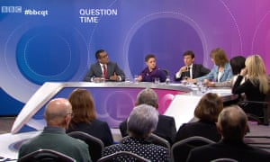 Anand Menon, left, on BBC Question Time, 17 January 2019.