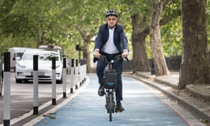 Sadiq Khan, mayor of London, on a new Streetspace cycle lane in London, July 2020
