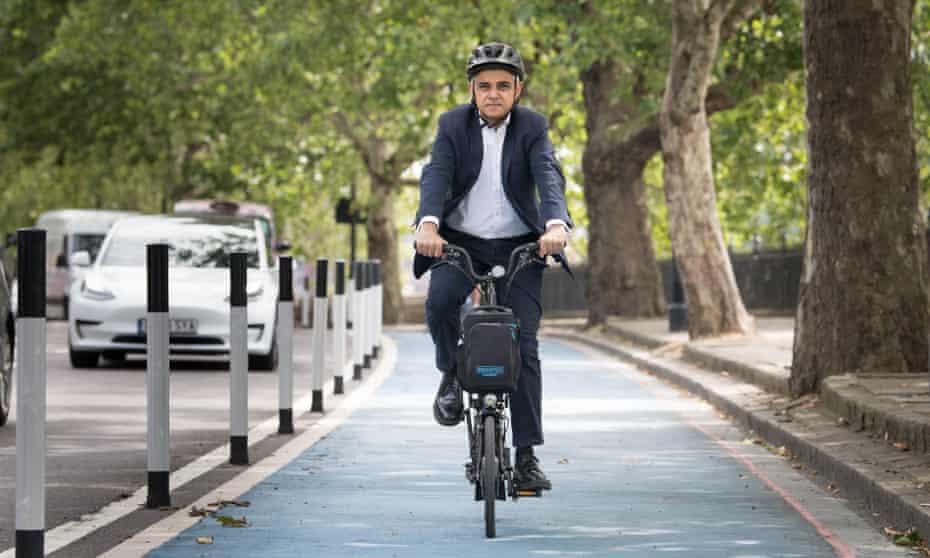 Sadiq Khan, mayor of London, on a new Streetspace cycle lane in London, July 2020