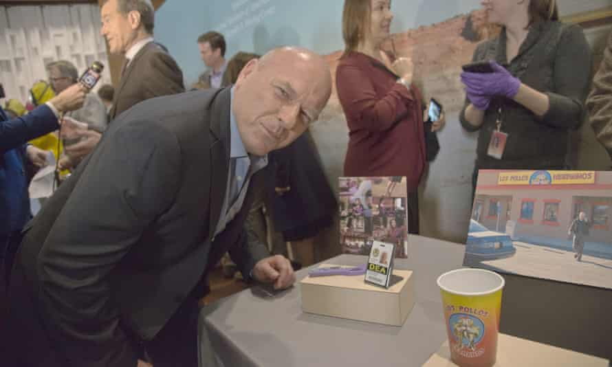 Dean Norris, who played Hank Schrader, poses near some of the props.