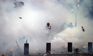 England fan in cloud of teargas in Marseille.