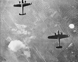 Two Dornier 17 bombers over West Ham, London, 7 September 1940.