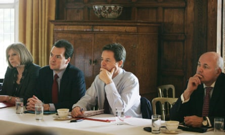 Nick Clegg attends a cabinet meeting at Chequers with  Theresa May, George Osborne and Iain Duncan Smith in July 2010
