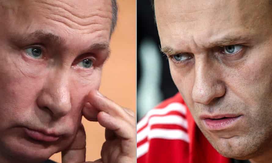 Russia's President Vladimir Putin and opposition activist Alexei Navalny.