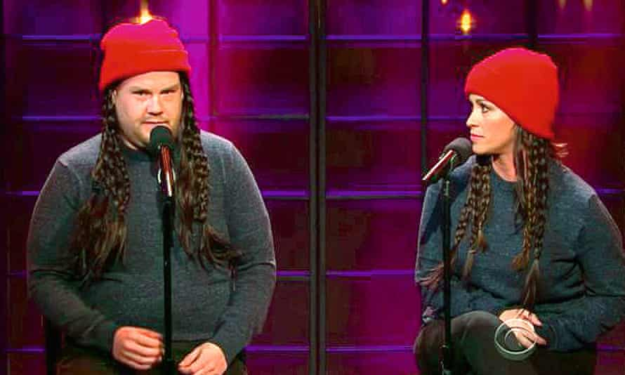 Photograph of Alanis Morissette with James Corden on the Late Late Show in 2015.