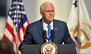 Mike Pence address personnel at Cape Canaveral, Florida on 18 December 2018.