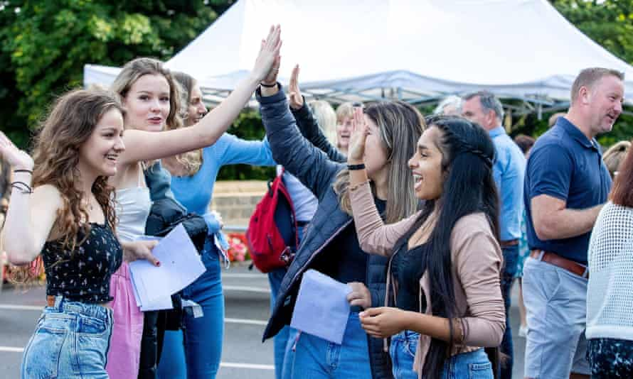 Bradford grammar school pupils celebrate after getting their GCSE results this Thursday