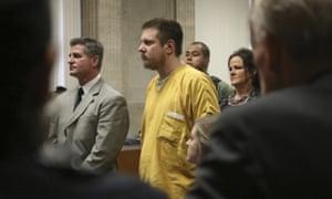 Jason Van Dyke and his attorney Daniel Herbert listen during Van Dyke's sentencing hearing.