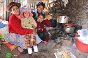 Juntos beneficiary Juana Mayhua, 47, lives in Peru's poorest region Huancavelica. Pictured with two of her children Angely (left) Jhamely (right) and husband Victor Olarte, 46.