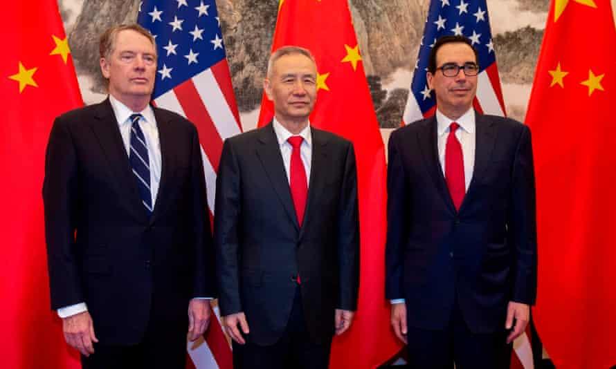 From left: Robert Lighthizer, Liu He and Steven Mnuchin