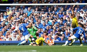 Watford's Miguel Layun scores their first goal at Goodison Park