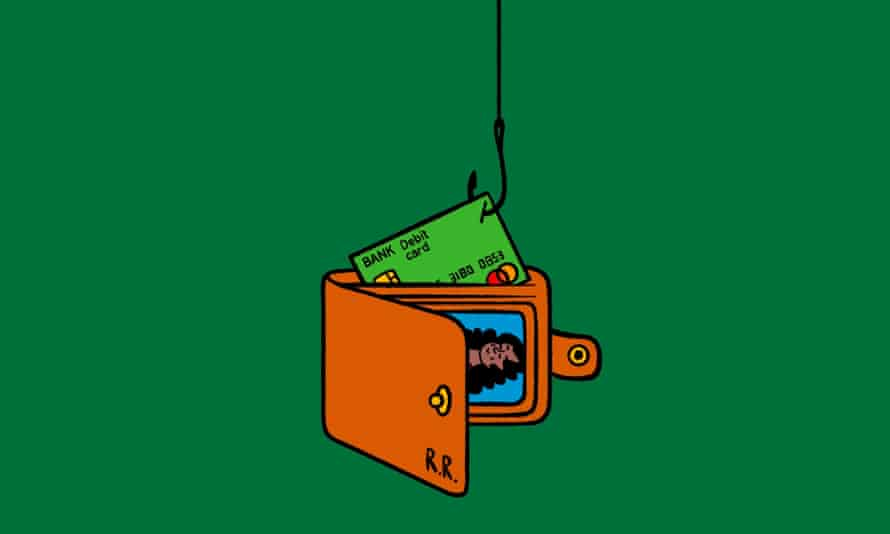 Illustration of a credit card being hooked out of a wallet