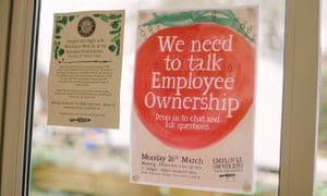 A notice at Riverford HQ about the employee ownership scheme