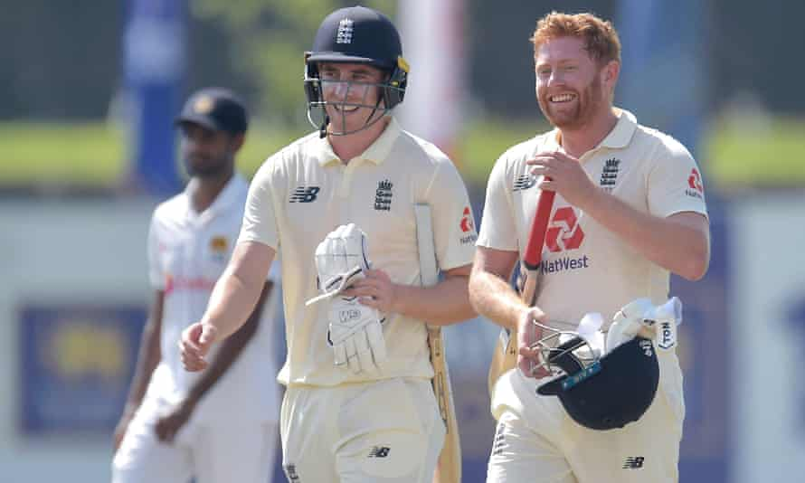 Dan Lawrence (left) and Jonny Bairstow celebrate England's victory in Galle on day five of the first Test.