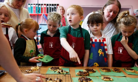 Children at a cookery and healthy eating club at St Mary Leiths primary school, Edinburgh.