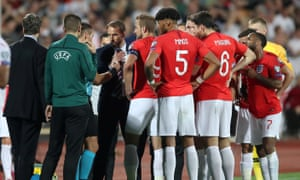 Gareth Southgate and his players speak with Uefa officials amid the racist abuse directed at England's black players during the Euro 2020 qualifier with Bulgaria in Sofia two months ago.