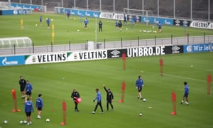 Schalke players training at a distance in Gelsenkirchen on 29 April, as the Bundesliga prepares for a possible resumption